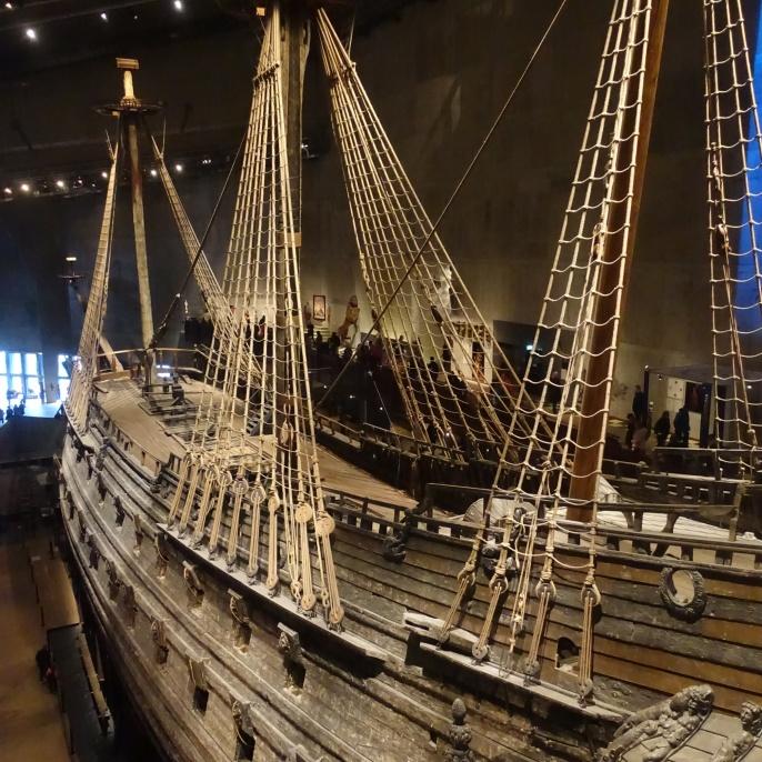 Das 1628 gesunkene und 1957 geborgene Kriegsschiff Vasa im gleichnamigen Museum in Stockholm