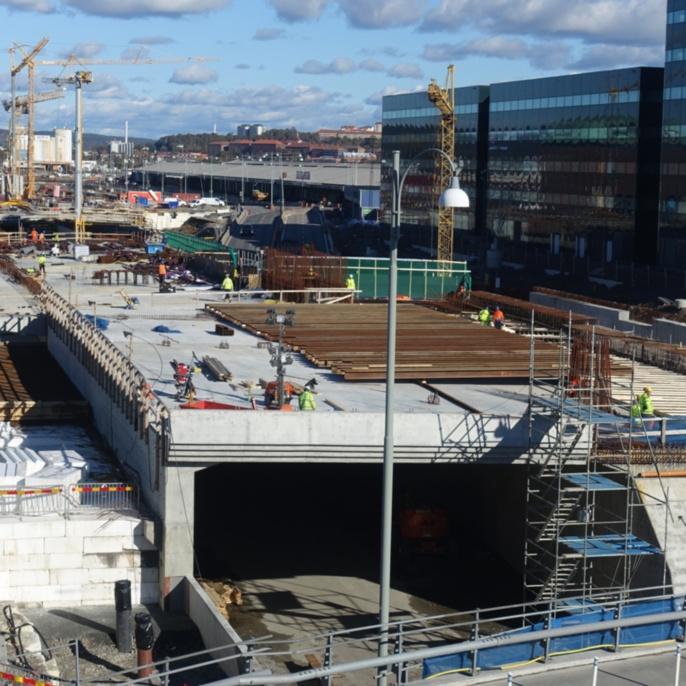 Im Bau befindlicher Straßentunnel des E45 Highways zwischen Lilla Bommen und Marieholm in Göteborg