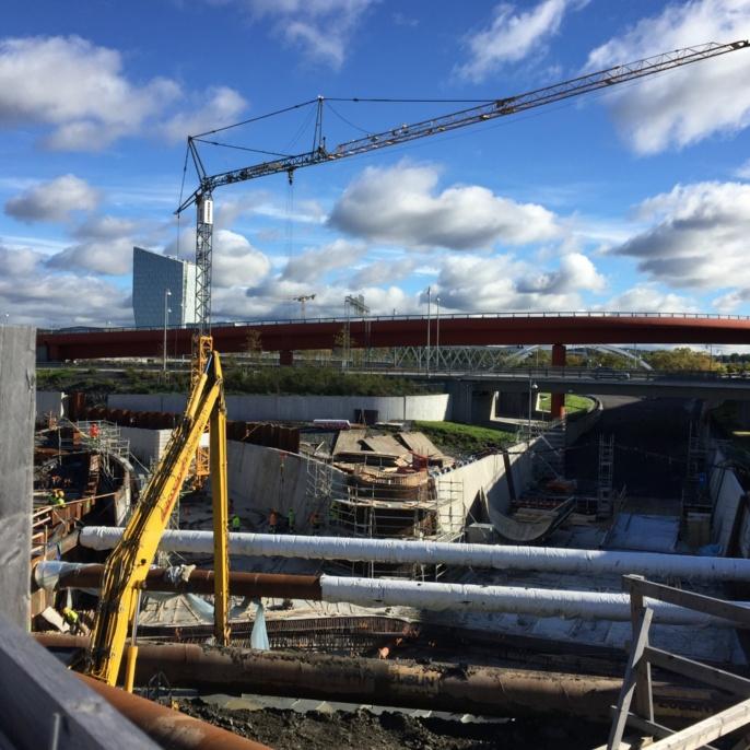 Marieholmstunnel, Göteborg. Erstellung der Zufahrtsbauwerke