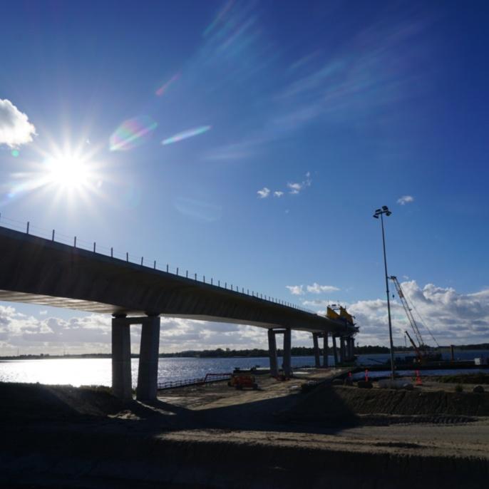 Fjordforbindelsen Frederiksssund, Längsansicht der in Segmentbauweise hergestellten Brückenkonstruktion