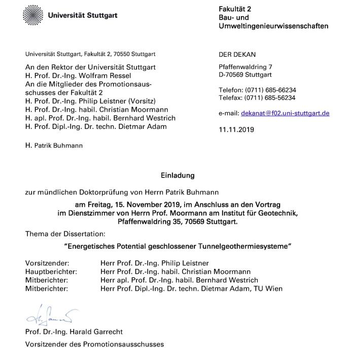 Einladung zur mündlichen Doktorprüfung am 15.11.2019